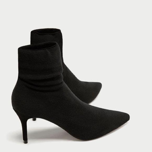Zara Black Sock Boot Low Heel Pointed